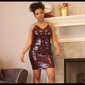 Wine Sequins CrissCross Dress (Large)